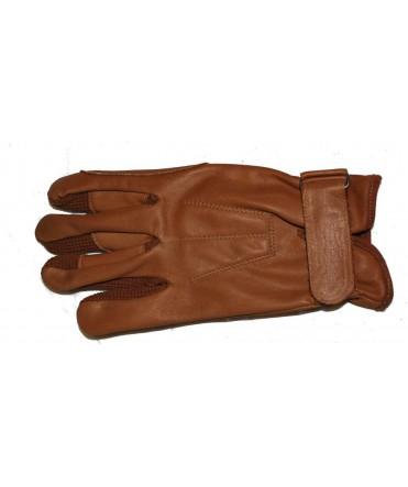 Gants d'attelage en cuir marron